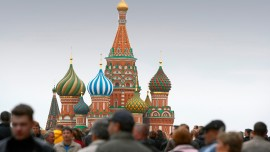 Original caption: Crowd in Red Square with St Basil's Cathedral in Moscow, Cathedral built by Ivan the Terrible in the 16th century., Image: 26723965, License: Rights-managed, Restrictions: Content available for use in Corbis Mobile Offerings., Model Release: no, Credit line: Profimedia, Corbis