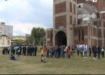 Уклоњен пано са Храма Христа Спаса у Приштини