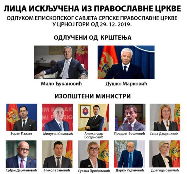 poslanici izlučeni iz crkve Crna Gora
