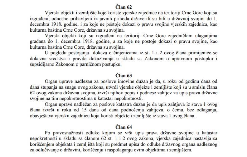 закон о вероисповести Црна Гора члан 62 63 64